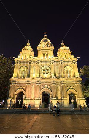 BEIJING - JULY 24, 2014 : Cathedral of Wangfujing on July 24, 2014 in Beijing, China. It is a landmark western church in Beijing.