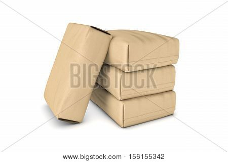 3d rendering of four light beige cement sacks isolated on a white background, three of the sacks are lying and the third one is leaning on them. Construction and repair. Building and Reconstruction. House-building. Supplies and materials.