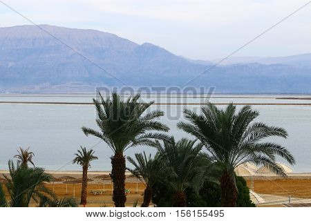 on the opposite shore of the Dead Sea can be seen in the mountains of Jordan