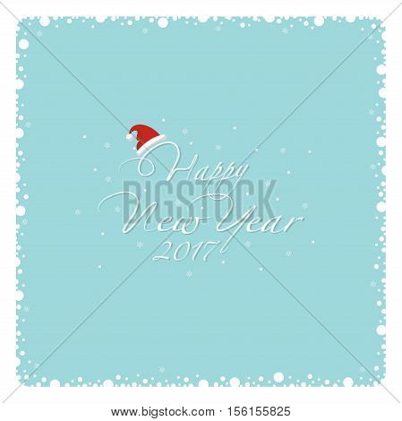 Cover design. The depicts a snow frame, falling snowflakes and the phrase happy new year , number 2,0 1 7 and santa hat on a blue background.