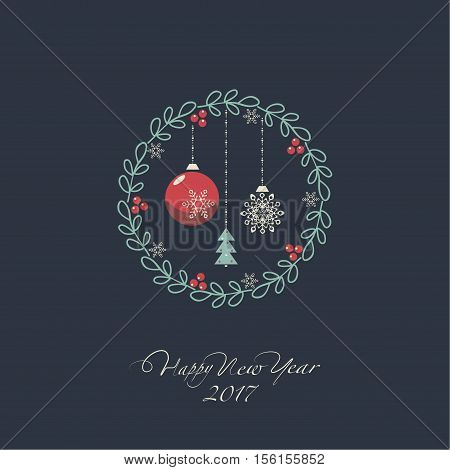 The cover design. The depicts a Christmas wreath with Christmas toys on a dark background. The phrase happy new year and 2 0,1,7.