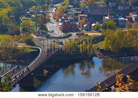 Aerial view on Harpers Ferry historic town in autumn. Harpers Ferry National Historical Park in West Virginia USA.