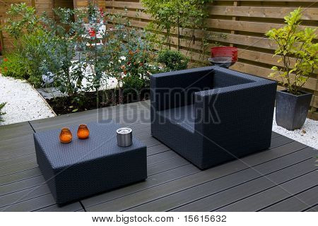 Modern garden with furniture