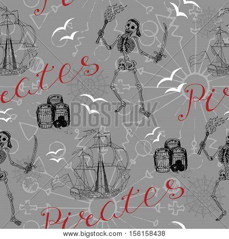 Seamless background with sailing ship, skeleton and pirate symbols. Endless vector illustration for vintage adventures and old transportation design