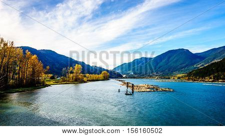Harrison River at Harrison Mills as it flows through the Fraser Valley of British Columbia to the Fraser River, Canada