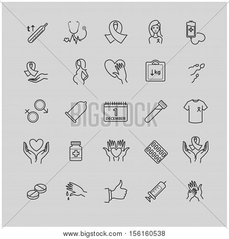 Outline icons set - aids, hiv, therapy, opportunistic disease, treatment for your design