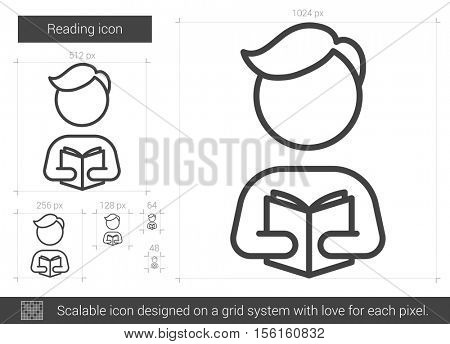Reading vector line icon isolated on white background. Reading line icon for infographic, website or app. Scalable icon designed on a grid system.