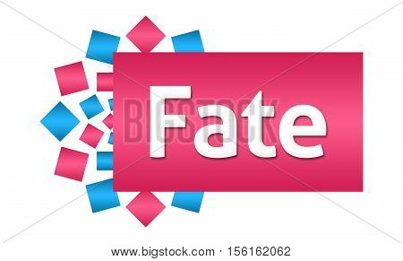 Fate text written over pink blue background.