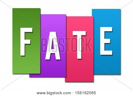 Fate text alphabets written over colorful background.