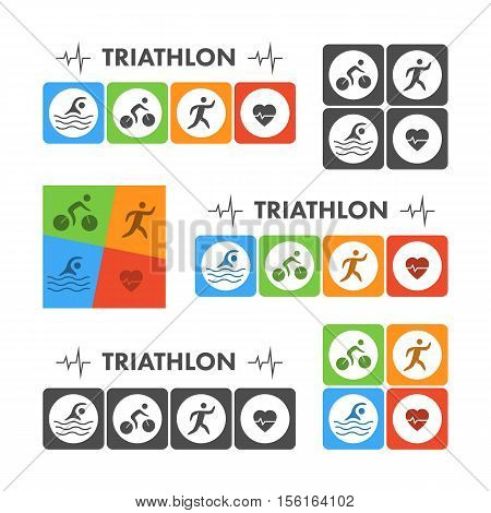 Black flat logo triathlon. Vector figures triathletes on a white background. Swimming cycling and running symbol.