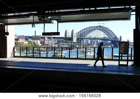 Silhouette Of A Man Against Sydney Harbour Bridge In Sydney Australia