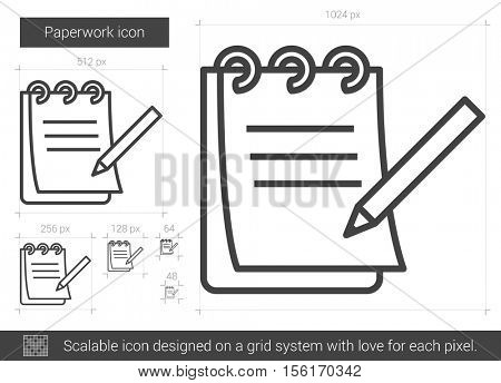 Paperwork vector line icon isolated on white background. Paperwork line icon for infographic, website or app. Scalable icon designed on a grid system.