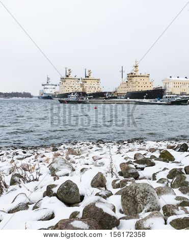 HELSINKI, FINLAND - NOVEMBER 6: Icebreakers are ready for the winter by  the Katajanokka pier in Helsinki at November 6, 2016