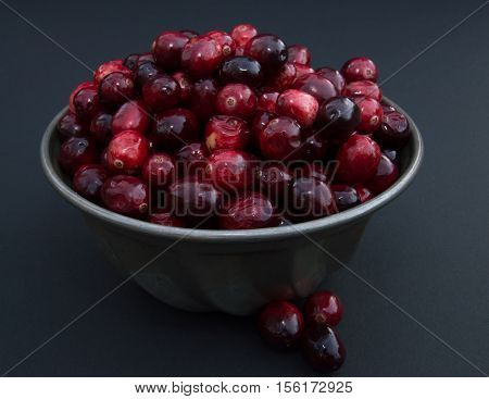 Close up of fresh red and maroon cranberries heaped in a  vintage ridged tin bowl or food mold with three berries outside the dish. Photographed against a black background with fill flash and shallow depth of field.