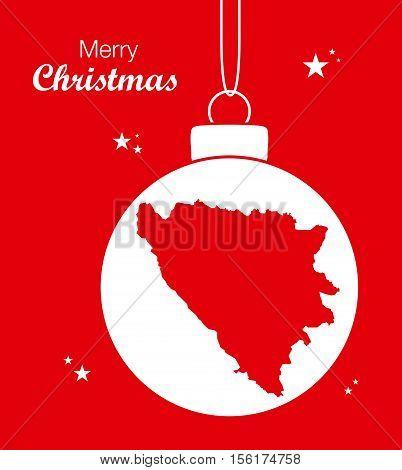Merry Christmas Map Bosnia-Hercegovina illustration high res