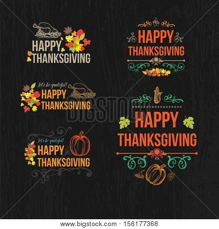 Happy Thanksgiving Day Design Badges Collection - Set of five colored vintage style Thanksgiving badges cards on dark background with decor elements, turkey, pumpkin, fruit, swirls