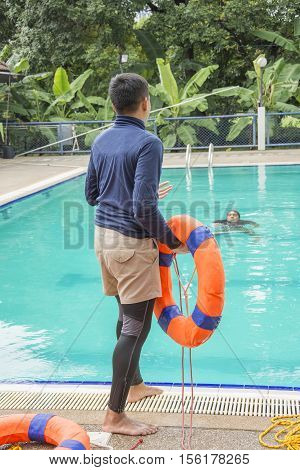 RESCUE WATER RING BUOY HELP IN DROWNING CASE TRAINING BANGKOK NOVEMBER 8 2016: rescue water ringbuoy help in drowning case training course at BANGKOK THAILAND NOVEMBER 8 2016