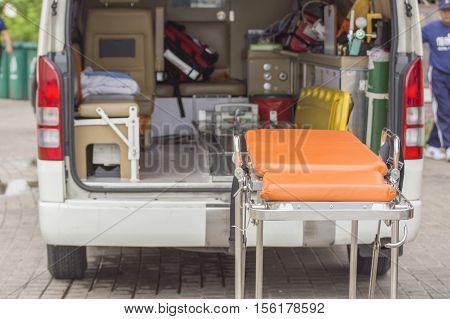 stretcher ambulance prepare accident case selective focus stretcher and blur background