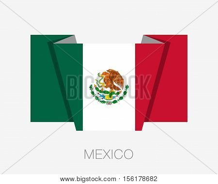 Flag of Mexico. Flat Icon Wavering Flag with Country Name on a White Background