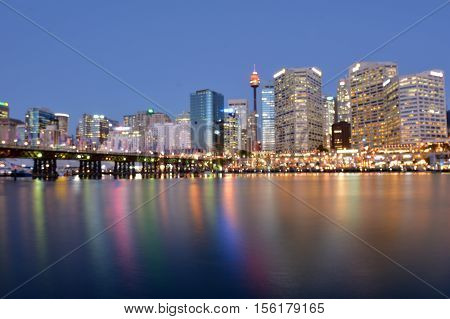 Cityscape Of Darling Harbour At Dusk Sydney New South Wales Australia