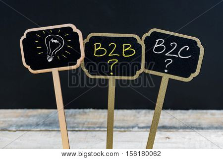 Concept Message B2B, B2C And Light Bulb As Symbol For Idea