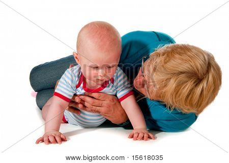 Grandmother and grandchild at the floor together