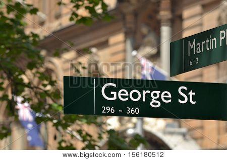 Street Sign Of George Street In Sydney