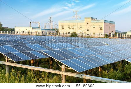 Solar panel produces green environmentally friendly energy from the sun.