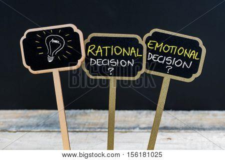 Concept Message Rational Decision Versus Emotional Decision And Light Bulb As Symbol For Idea