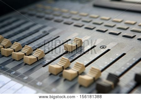 Sound dj mixer controller. Close up view.