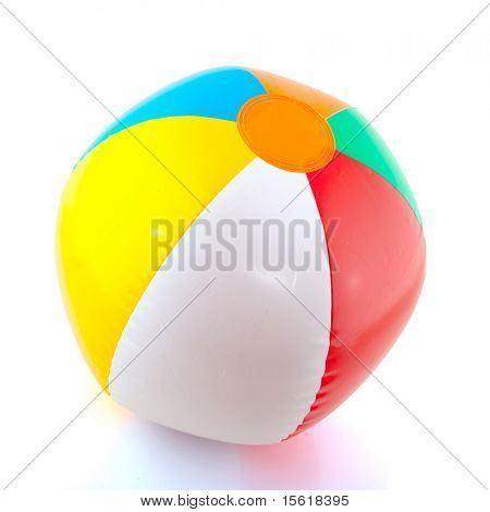 colorful floating beach ball isolated over white