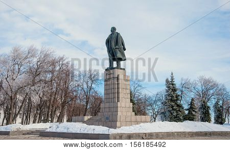 RUSSIA, Ulyanovsk. MARCH 3, 2013 Lenin's monument in Ulyanovsk was established April 22, 1940 to Lenin Square. Its author, prominent Soviet sculptor Manizer.