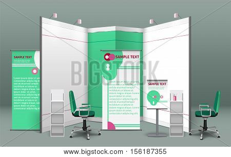 Exhibition stand concept with billboards shelves booths displays and chairs in the same style isolated vector illustration