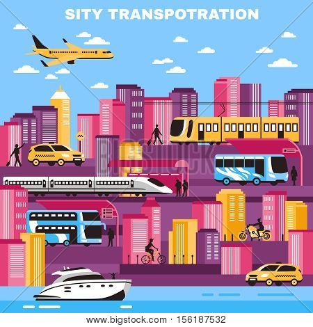 City background with skyscrapers and urban transport so as yellow cabs tram water transportation flat vector illustration