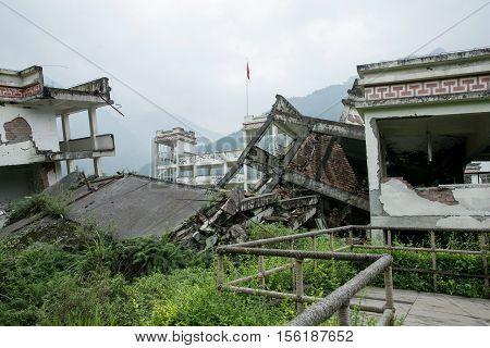 China Sichuan earthquake site of yingxiu in ganzi