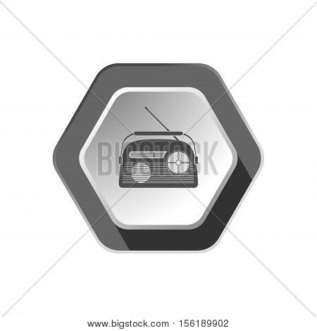Vector flat icon of gray vintage radio with antenna on the hexagon gradient gray background.