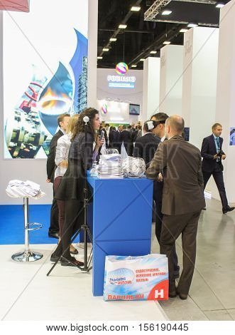 St. Petersburg, Russia - 4 October, Different people in the Gas Forum, 4 October, 2016. Petersburg Gas Forum which takes place in Expoforum.