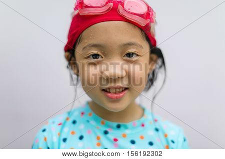 Asian Child In Swimming Suit