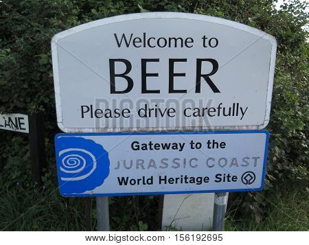 Beer, United Kingdom - October 10, 2016: Welcome to Beer village sign Devon UK