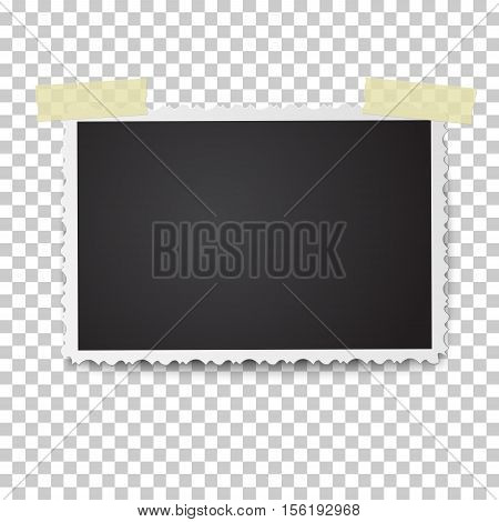 Realistic vector photo frame with retro figured edges and soft shadow on two pieces of sticky adhesive tape. Template photo design.
