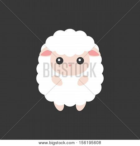 Sheep icon, cute sheep cartoon character for Chinese zodiac, flat design
