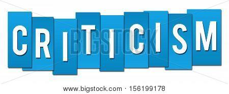 Criticism text written over vibrant blue background.