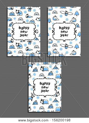 Set of happy new year vector greeting card templates with arctic animals. Childish illustrations of polar bear, reindeer, arctic fox, walrus, seal, owl, penguin and musk-ox. Animals wear scarves and hats