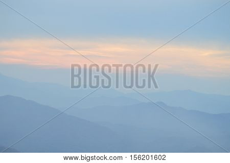 Pastel colors of a sunset over the Blue Ridge Mountains, North Carolina