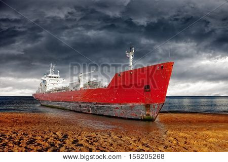 Big ship aground due to a severe storm - Image is an artistic digital rendering.