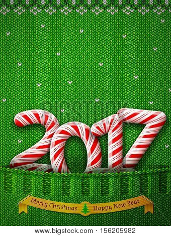 New Year 2017 in shape of candy stick in knitted pocket. Sweater fragment with year number as holiday candies. Vector image for new years day christmas sweet-stuff winter holiday new years eve