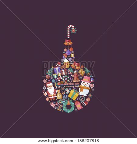 Stock vector illustration design elements for a Happy New Year and Merry Christmas in a flat style in the shape of Christmas ball set of decorative accessories on violet background.