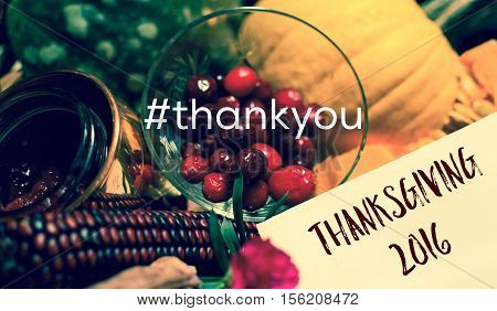 Thanksgiving Thank You Card in Autumn Harvest Gift Basket with written words Thank You In hashtag and Thanksgiving 2016