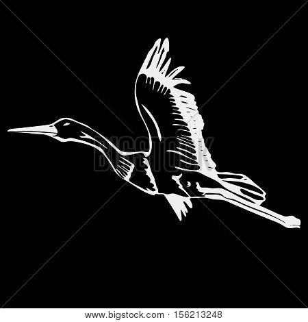 Hand-drawn pencil graphics, stork, swan. Engraving, stencil style. Black and white logo, sign, emblem, symbol Stamp seal Simple illustration Sketch