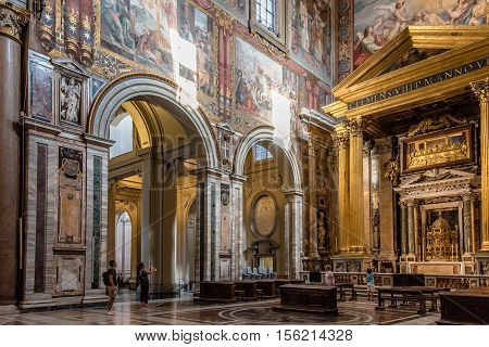 Rome Italy - August 22 2016: Interior view of Archbasilica of St John Lateran in Rome. It is the oldest among the four papal major basilicas.